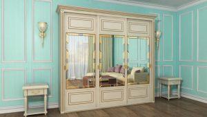 Шкаф купе с фрезеровкой и зеркальным панно Батайск