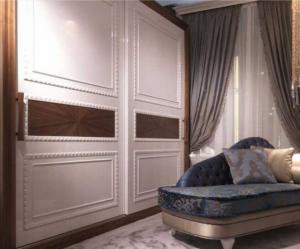 Шкаф купе с эмитацией филенки и фигурной накладкой, ламинация, шпон, эмаль Батайск