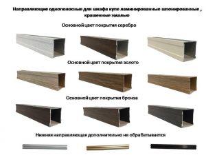 Направляющие однопосные для шкафа купе ламинированные, шпонированные, крашенные эмалью Батайск
